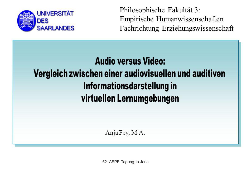 Philosophische Fakultät 3: Empirische Humanwissenschaften Fachrichtung Erziehungswissenschaft