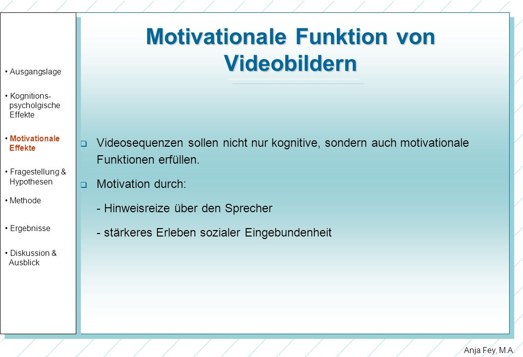 Motivationale Funktion von Videobildern