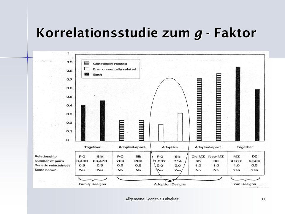 Korrelationsstudie zum g - Faktor