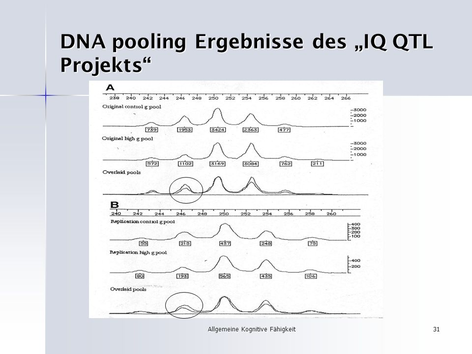 "DNA pooling Ergebnisse des ""IQ QTL Projekts"