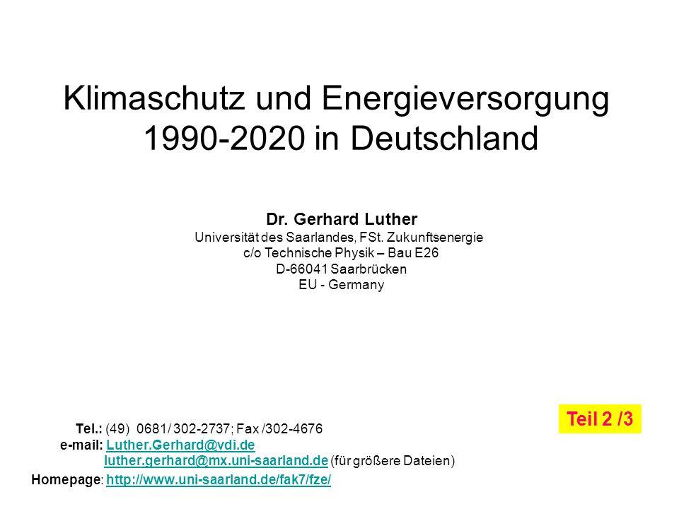 Klimaschutz und Energieversorgung 1990-2020 in Deutschland