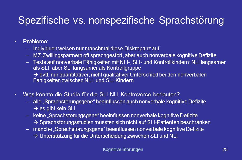 Spezifische vs. nonspezifische Sprachstörung