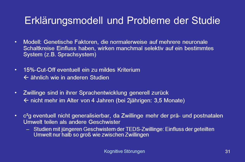 Erklärungsmodell und Probleme der Studie