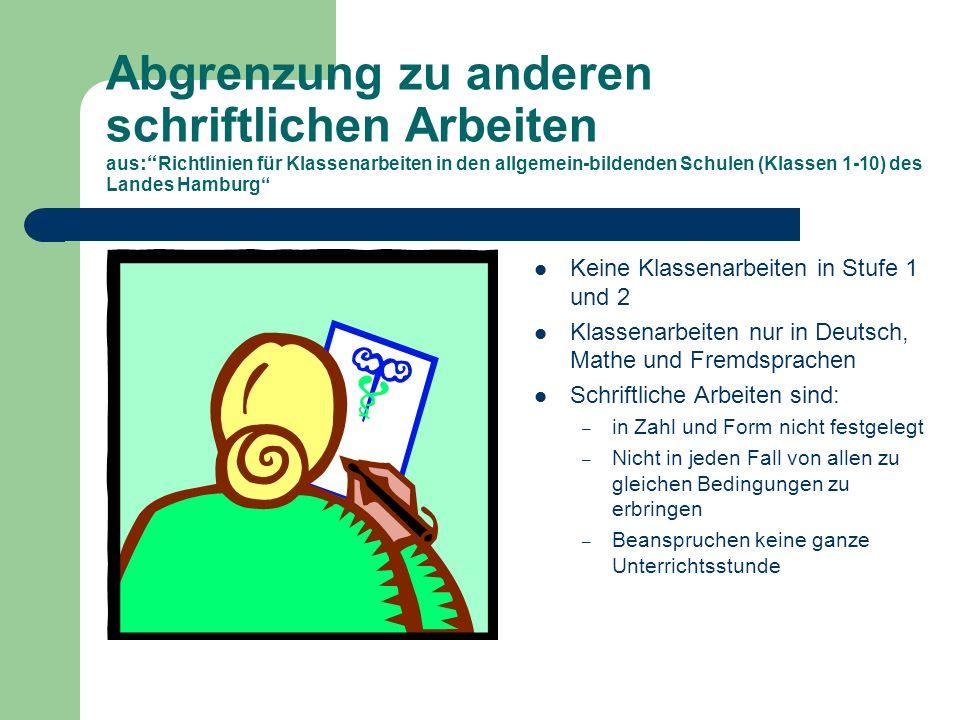 Abgrenzung zu anderen schriftlichen Arbeiten aus: Richtlinien für Klassenarbeiten in den allgemein-bildenden Schulen (Klassen 1-10) des Landes Hamburg