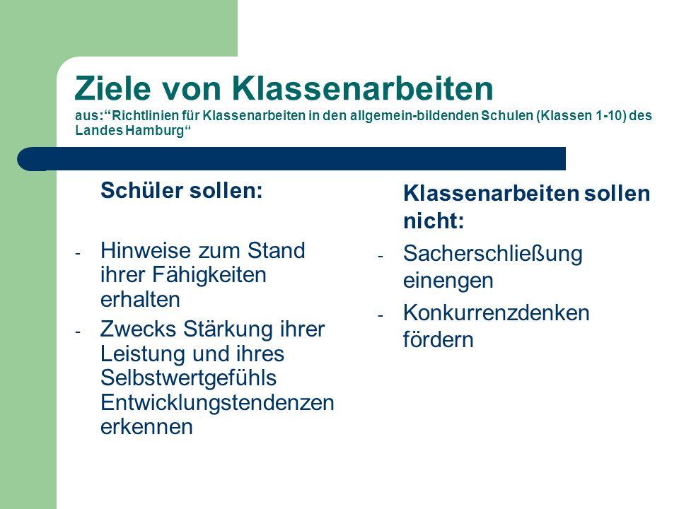 Ziele von Klassenarbeiten aus: Richtlinien für Klassenarbeiten in den allgemein-bildenden Schulen (Klassen 1-10) des Landes Hamburg