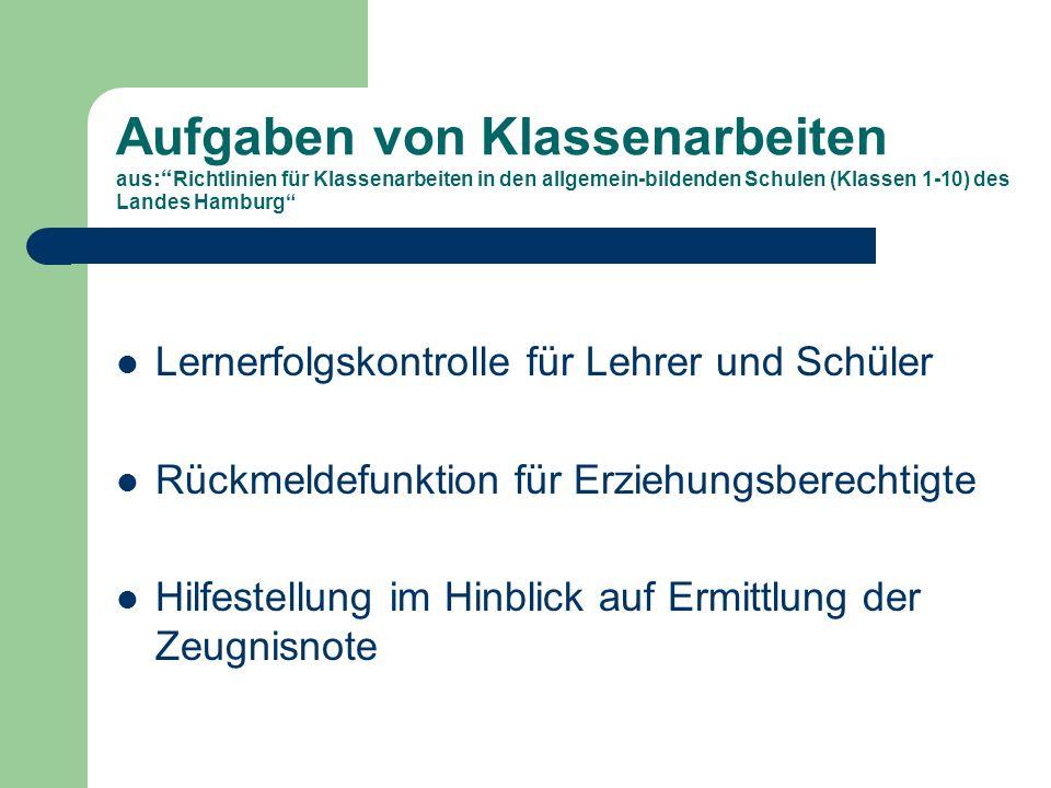 Aufgaben von Klassenarbeiten aus: Richtlinien für Klassenarbeiten in den allgemein-bildenden Schulen (Klassen 1-10) des Landes Hamburg