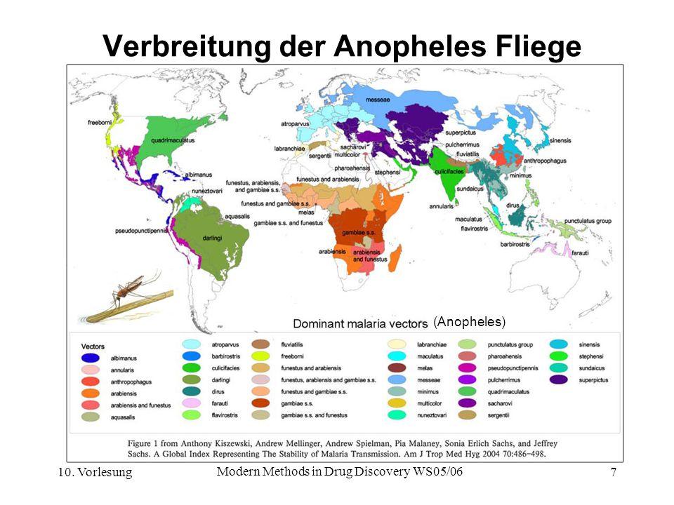 Verbreitung der Anopheles Fliege