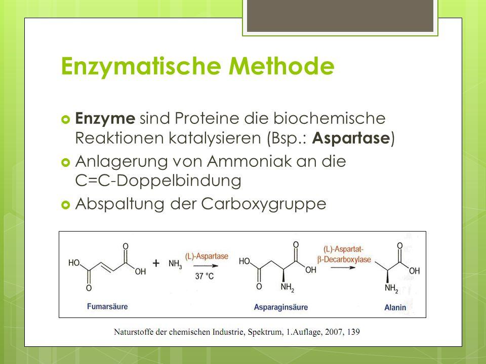 Enzymatische Methode Enzyme sind Proteine die biochemische Reaktionen katalysieren (Bsp.: Aspartase)