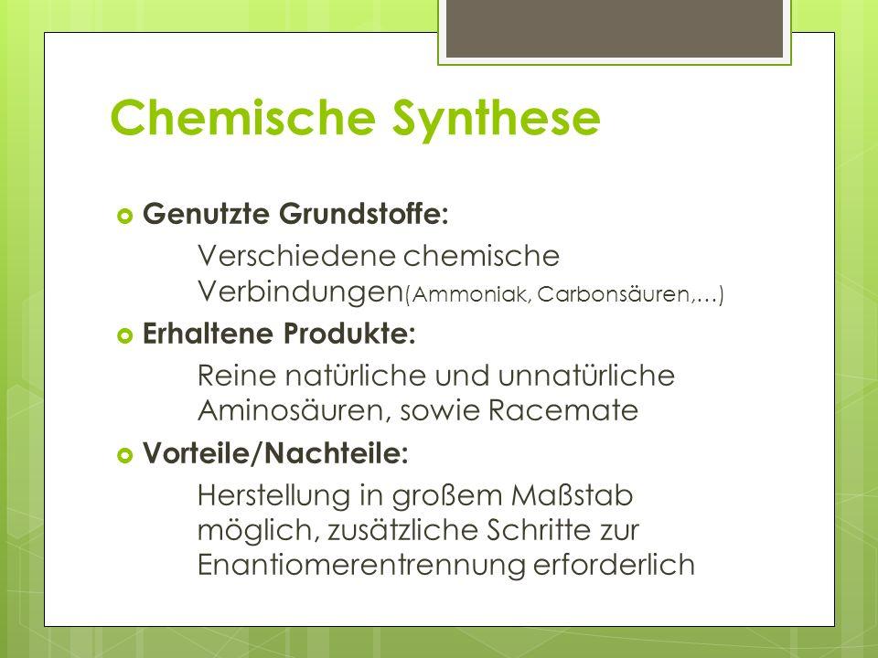 Chemische Synthese Genutzte Grundstoffe:
