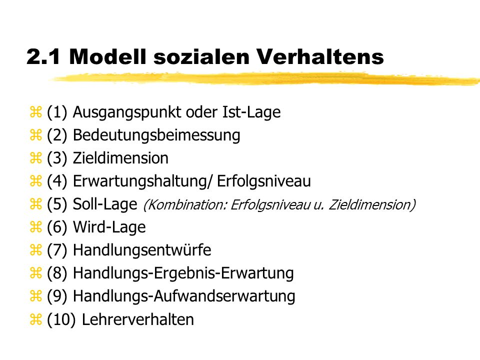 2.1 Modell sozialen Verhaltens