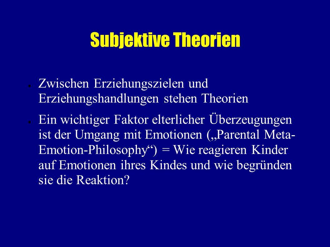 Subjektive Theorien Zwischen Erziehungszielen und Erziehungshandlungen stehen Theorien.