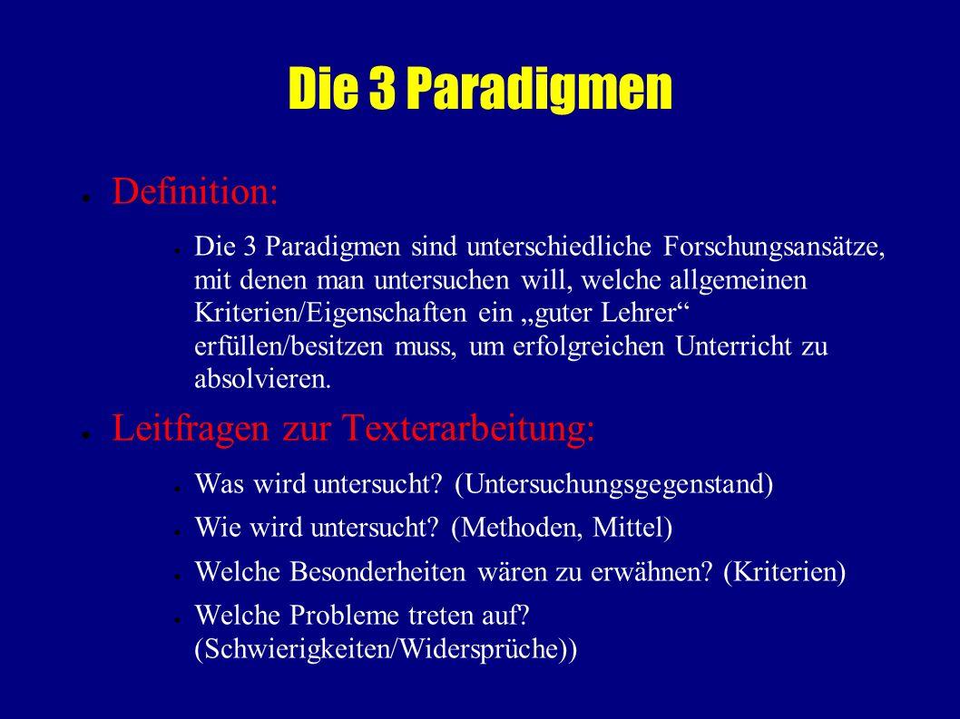 Die 3 Paradigmen Definition: Leitfragen zur Texterarbeitung: