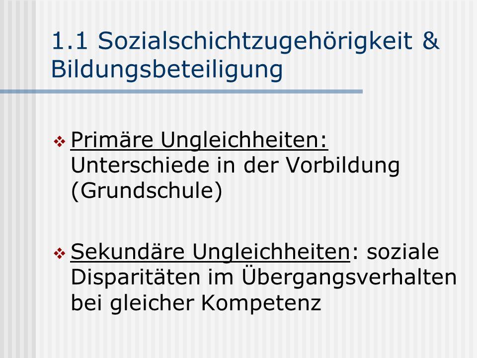 1.1 Sozialschichtzugehörigkeit & Bildungsbeteiligung