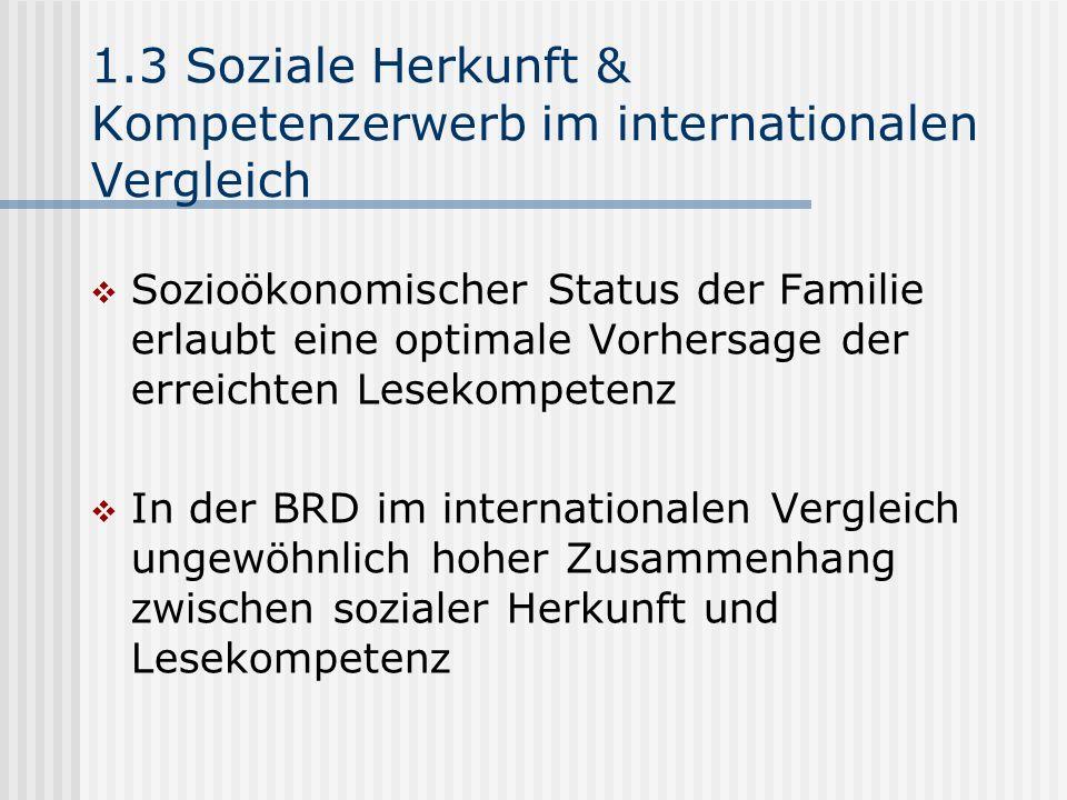 1.3 Soziale Herkunft & Kompetenzerwerb im internationalen Vergleich