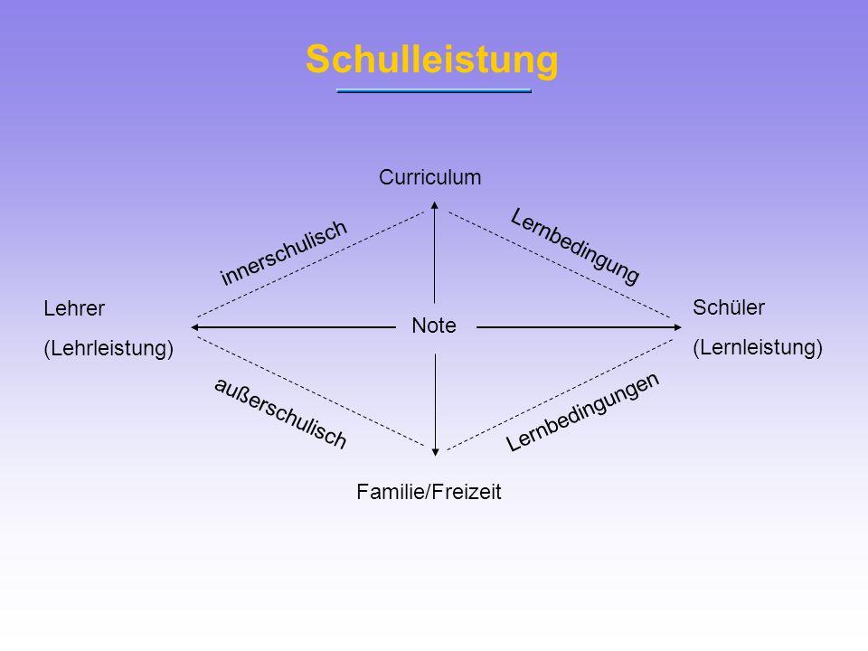 Schulleistung Curriculum Lernbedingung innerschulisch Lehrer Schüler
