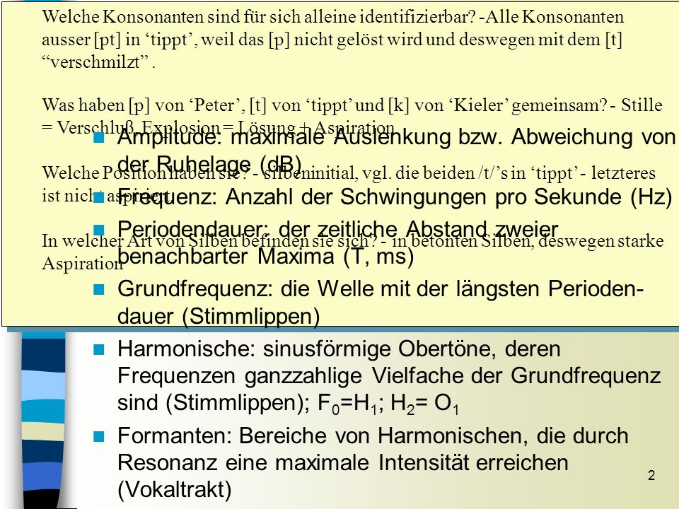 Welche Konsonanten sind für sich alleine identifizierbar