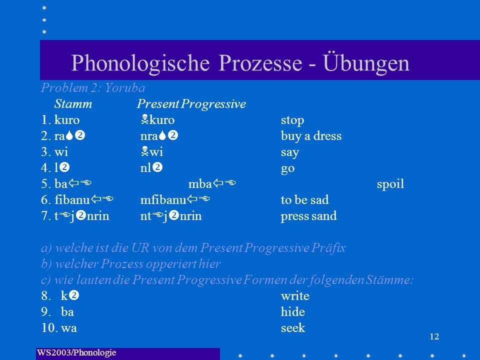 Phonologische Prozesse - Übungen
