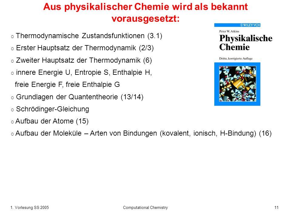 Aus physikalischer Chemie wird als bekannt vorausgesetzt: