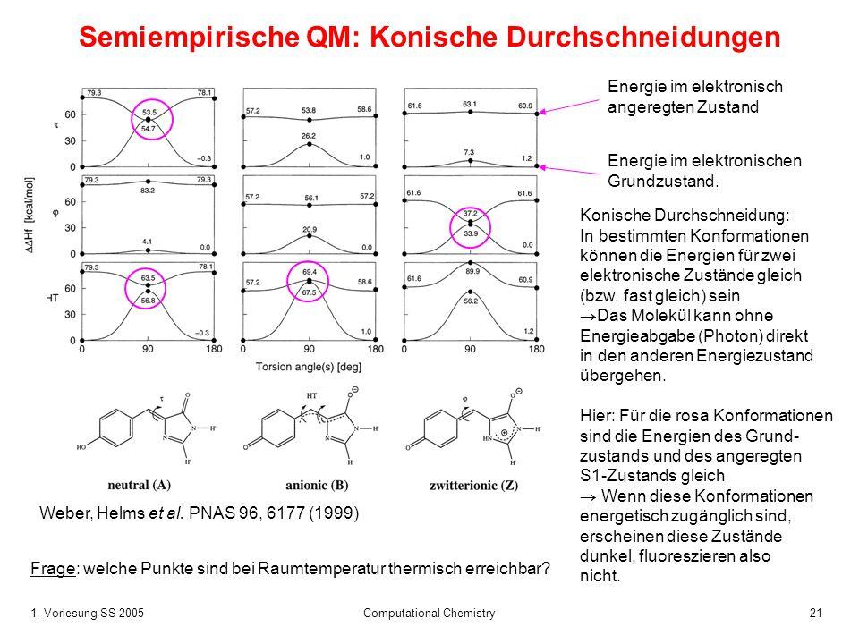 Semiempirische QM: Konische Durchschneidungen