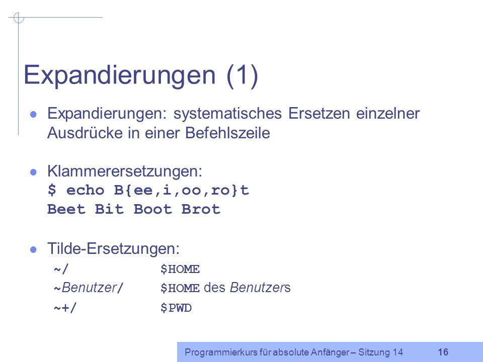 Expandierungen (1) Expandierungen: systematisches Ersetzen einzelner Ausdrücke in einer Befehlszeile.
