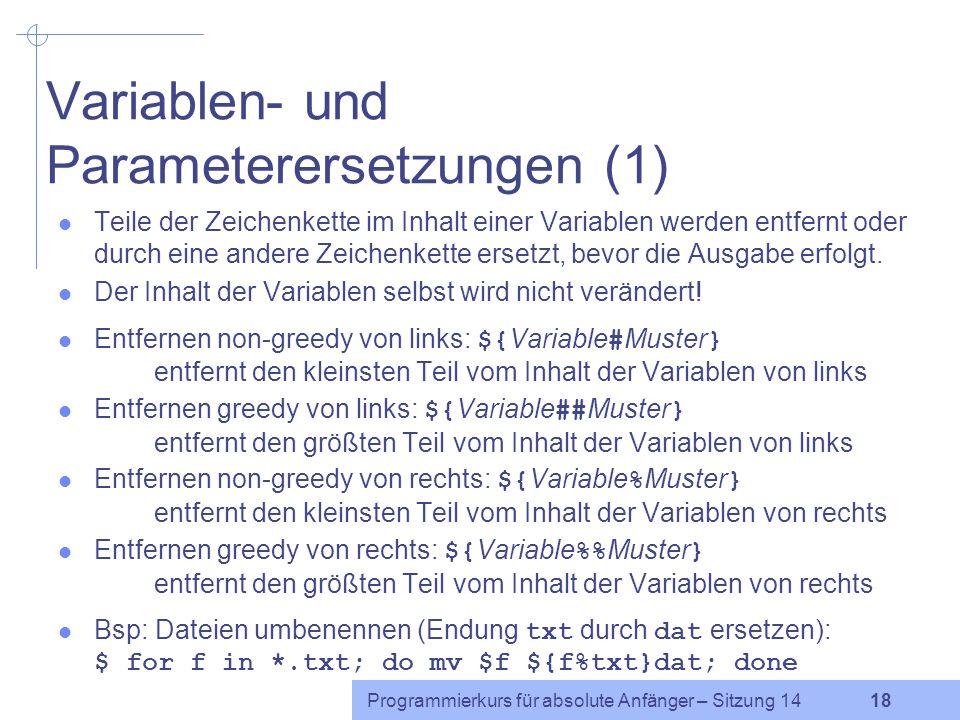 Variablen- und Parameterersetzungen (1)
