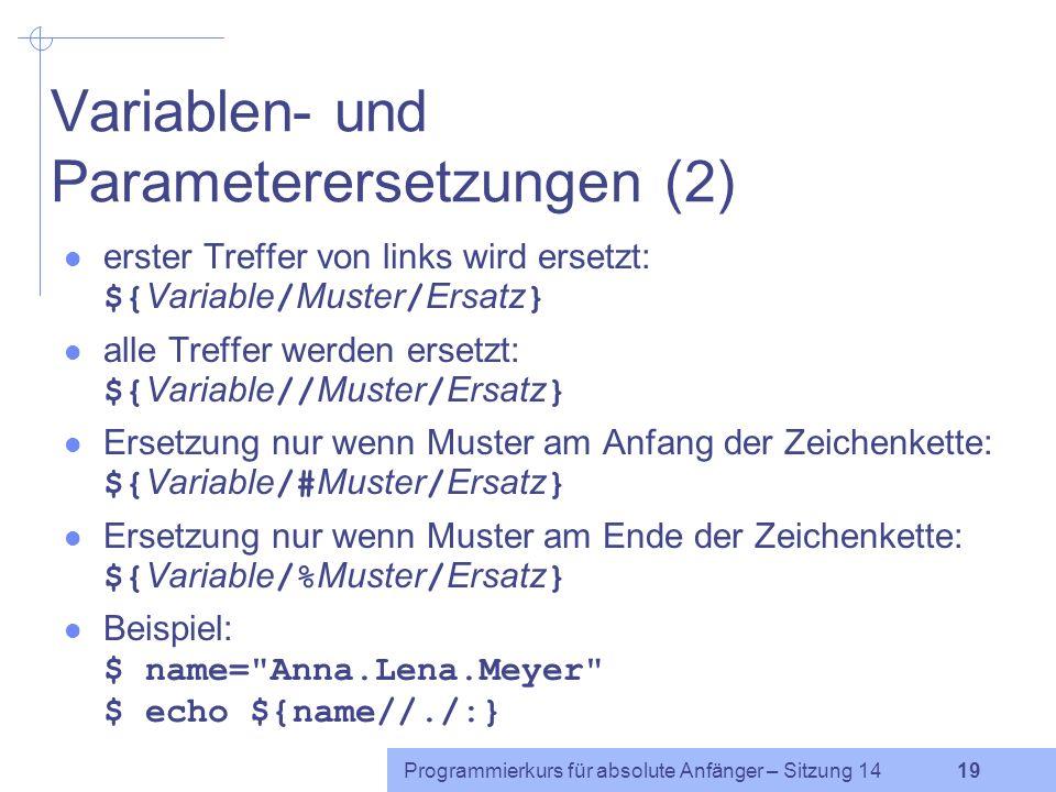 Variablen- und Parameterersetzungen (2)