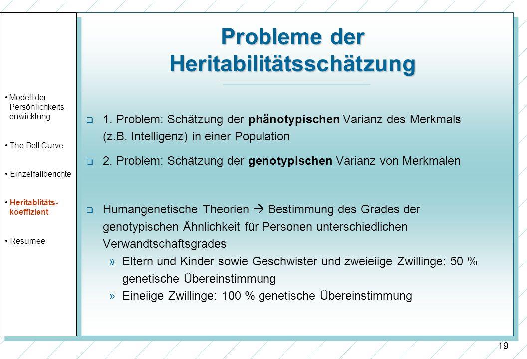 Probleme der Heritabilitätsschätzung