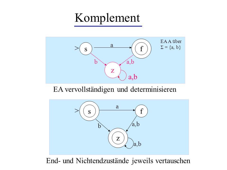 Komplement > s f z a,b EA vervollständigen und determinisieren >