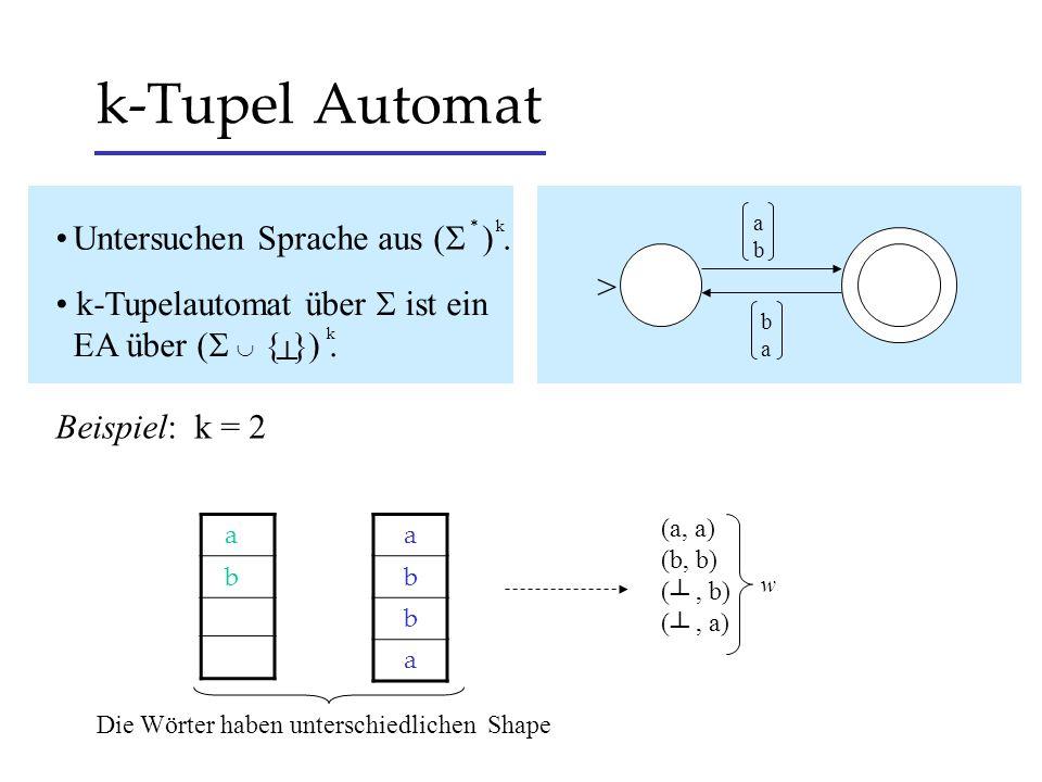 k-Tupel Automat • Untersuchen Sprache aus ( ) . >