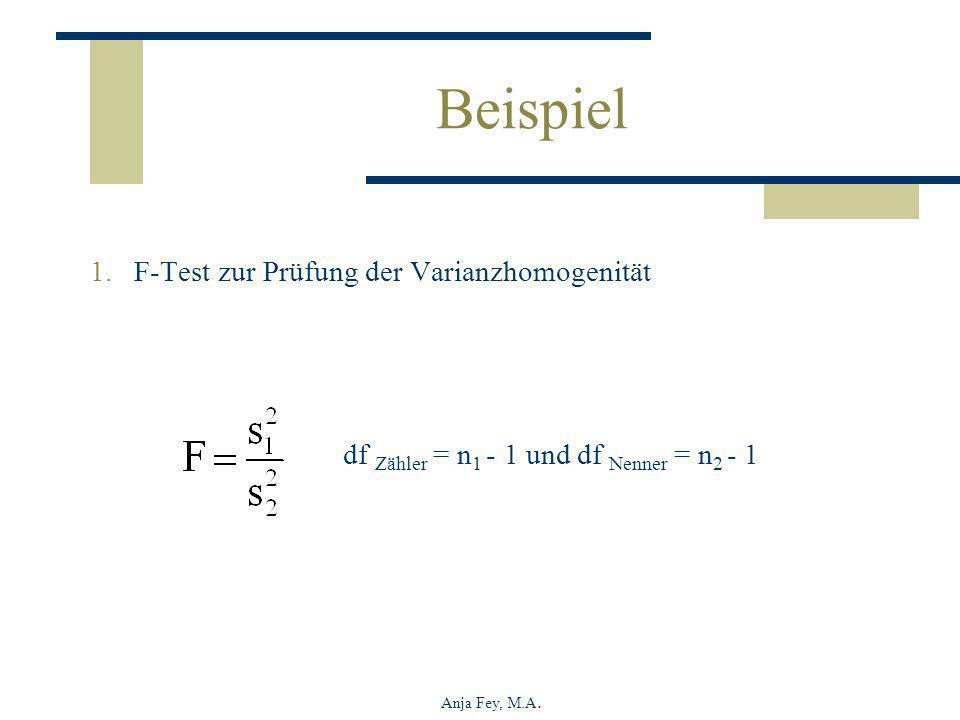 Beispiel F-Test zur Prüfung der Varianzhomogenität