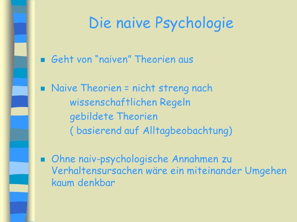 Die naive Psychologie Geht von naiven Theorien aus
