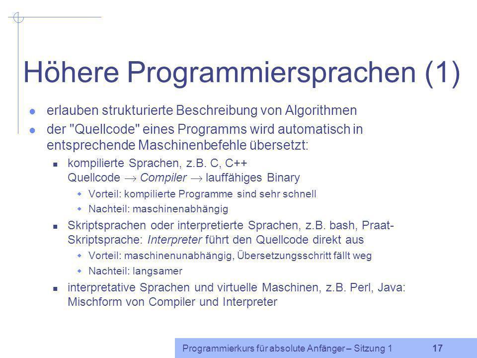 Höhere Programmiersprachen (1)