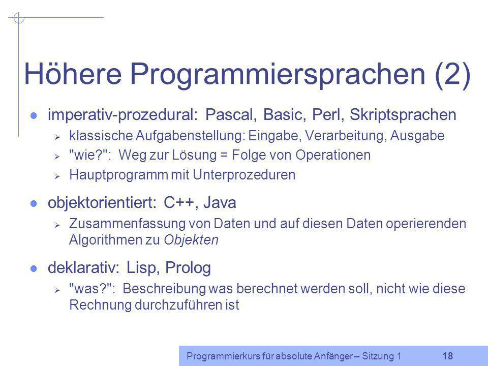 Höhere Programmiersprachen (2)