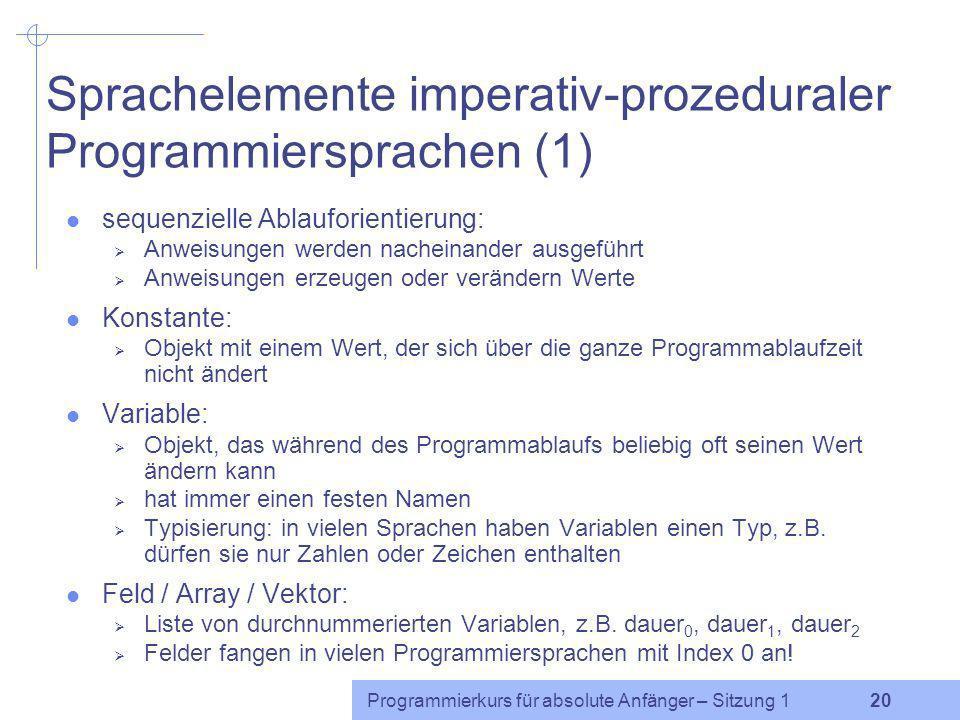 Sprachelemente imperativ-prozeduraler Programmiersprachen (1)