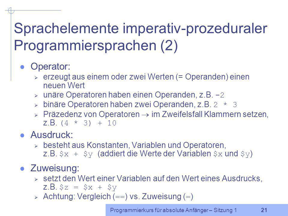 Sprachelemente imperativ-prozeduraler Programmiersprachen (2)