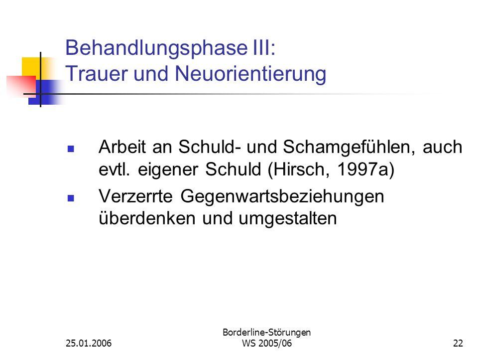 Behandlungsphase III: Trauer und Neuorientierung
