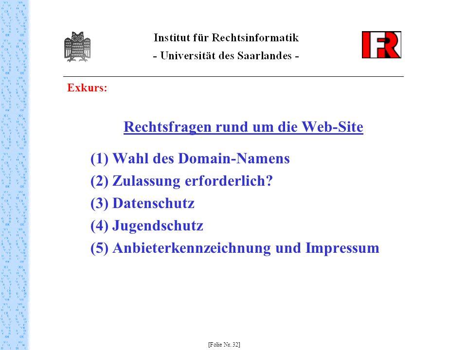Rechtsfragen rund um die Web-Site