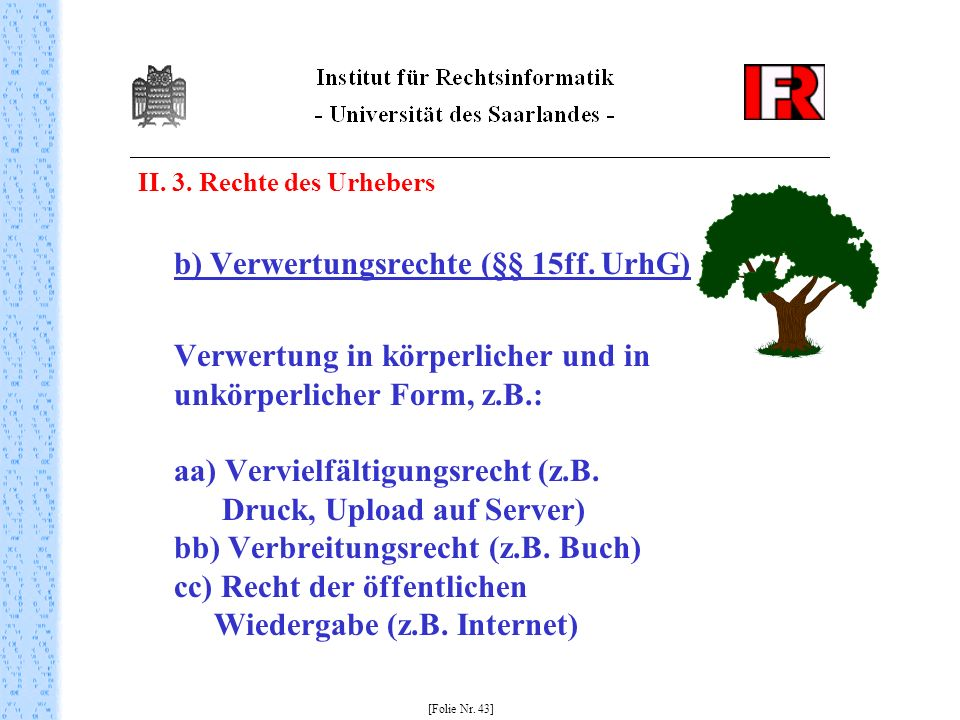 II. 3. Rechte des Urhebersb) Verwertungsrechte (§§ 15ff. UrhG)