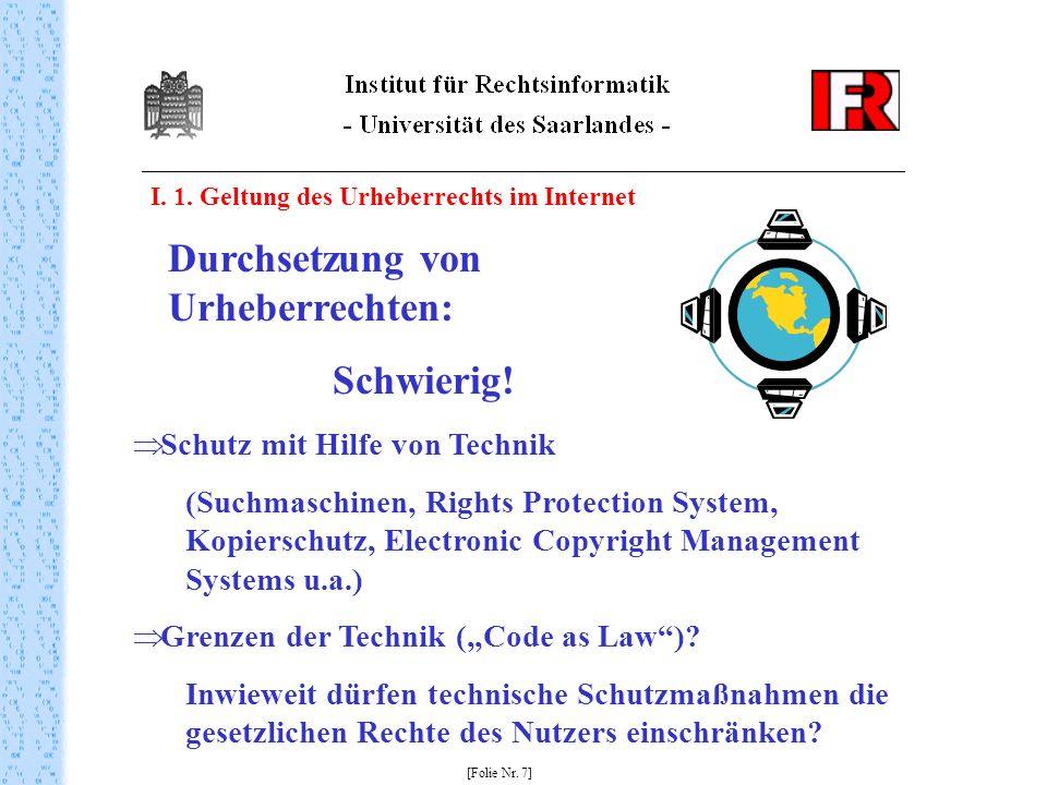 Durchsetzung von Urheberrechten: Schwierig!
