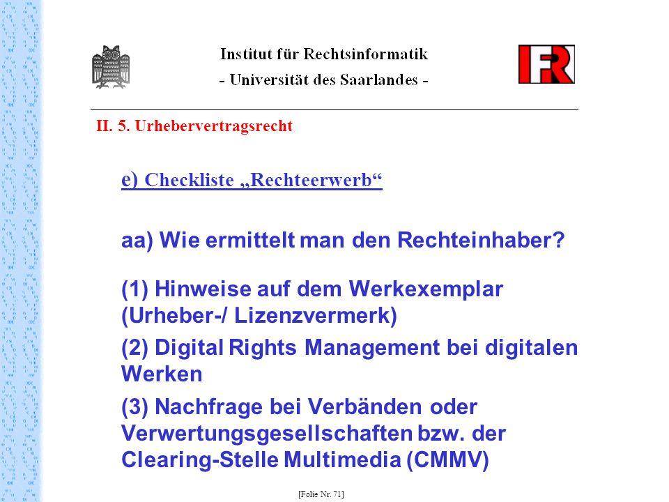 """e) Checkliste """"Rechteerwerb"""