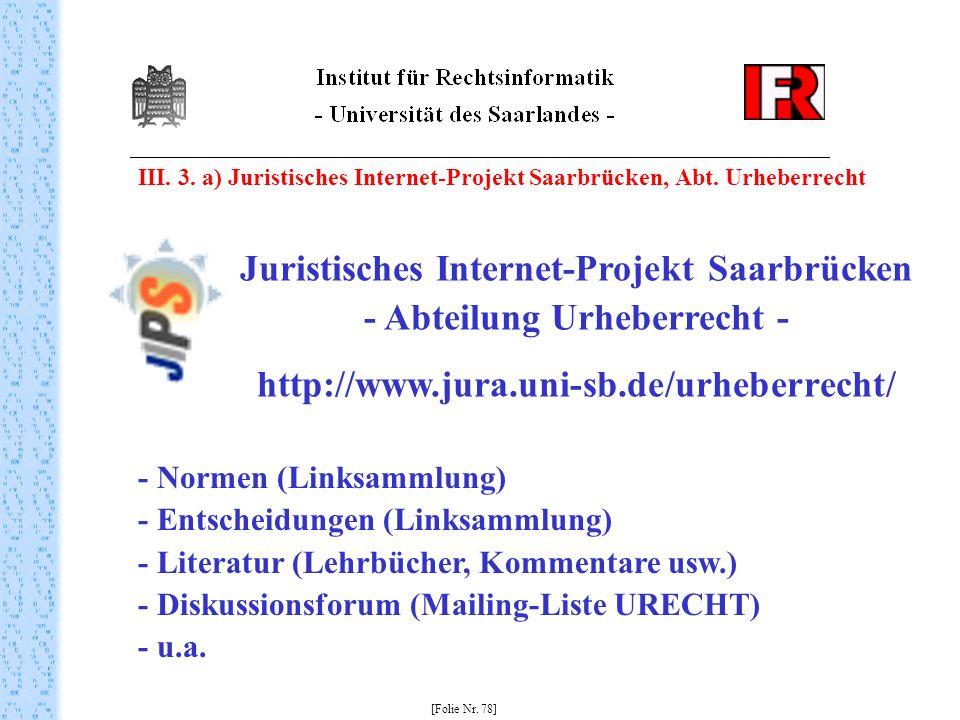 Juristisches Internet-Projekt Saarbrücken - Abteilung Urheberrecht -