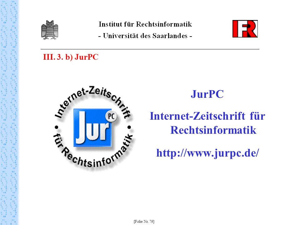 Internet-Zeitschrift für Rechtsinformatik