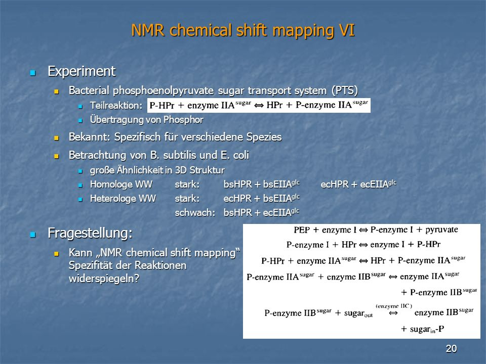 NMR chemical shift mapping VI