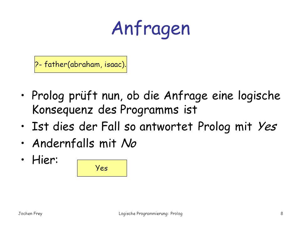Anfragen Prolog prüft nun, ob die Anfrage eine logische Konsequenz des Programms ist. Ist dies der Fall so antwortet Prolog mit Yes.