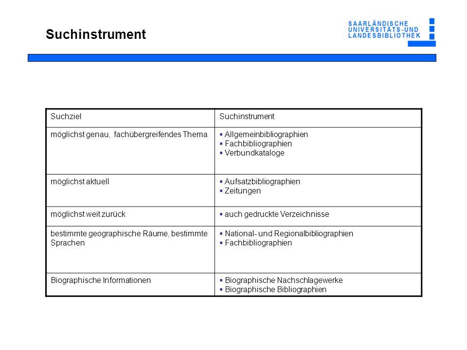 Suchinstrument Suchziel Suchinstrument