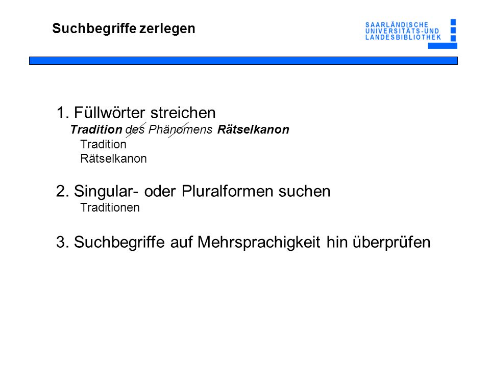 2. Singular- oder Pluralformen suchen