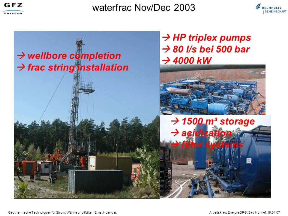 waterfrac Nov/Dec 2003  HP triplex pumps.  80 l/s bei 500 bar.  4000 kW.  wellbore completion.