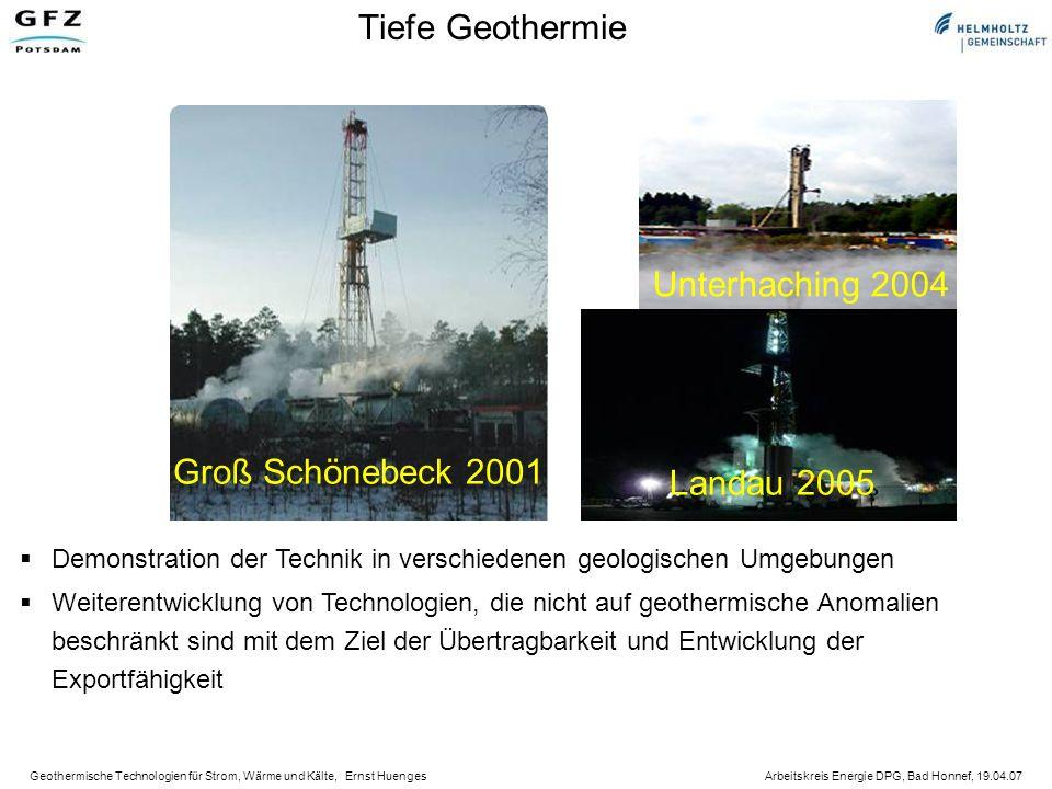 Tiefe Geothermie Unterhaching 2004 Groß Schönebeck 2001 Landau 2005