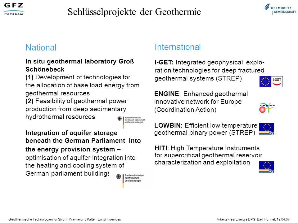 Schlüsselprojekte der Geothermie