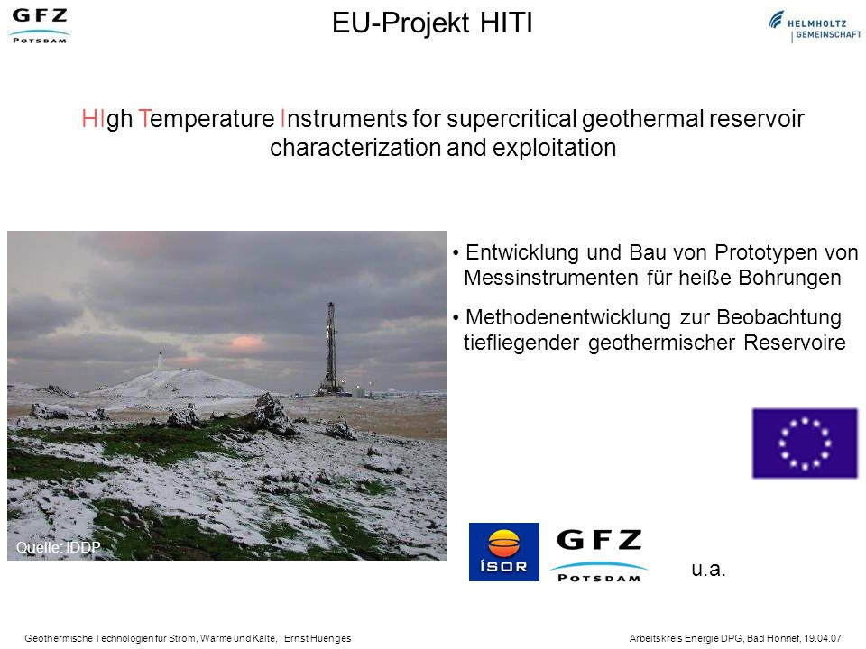 EU-Projekt HITI HIgh Temperature Instruments for supercritical geothermal reservoir. characterization and exploitation.